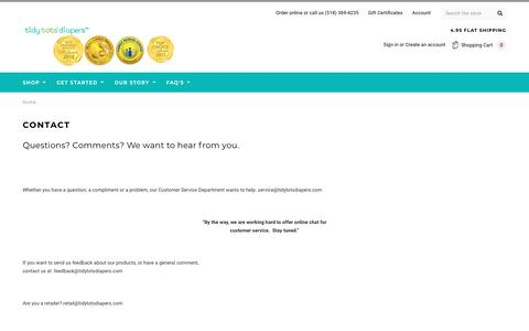 Screenshot of Contact Page tidytotsdiapers.com - Contact - captured Sept. 24, 2018