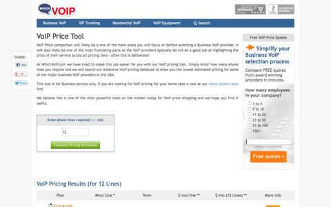 Screenshot of Pricing Page whichvoip.com - VoIP Price Tool | WhichVoIP.com - captured Oct. 1, 2017