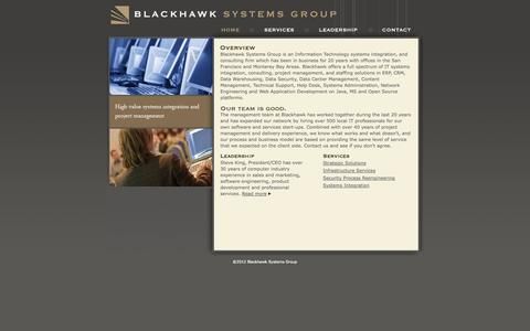 Screenshot of Home Page blackhawksystemsgroup.com - Blackhawk Systems Group - captured Oct. 5, 2014