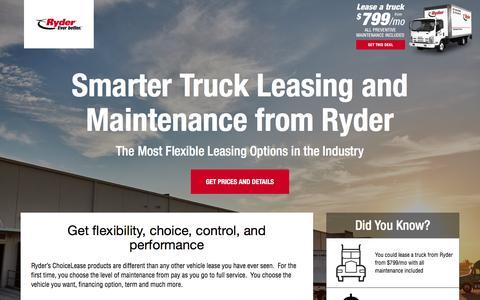 Screenshot of Landing Page ryder.com - Flexible Truck Leasing Solution - Ryder - captured Sept. 30, 2016
