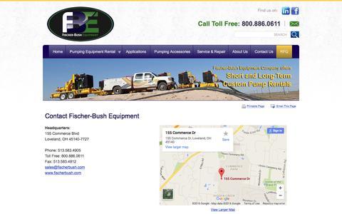 Screenshot of Contact Page fischerbushequipment.com - Contact Fischer-Bush Equipment - Loveland, Ohio - captured Feb. 10, 2016