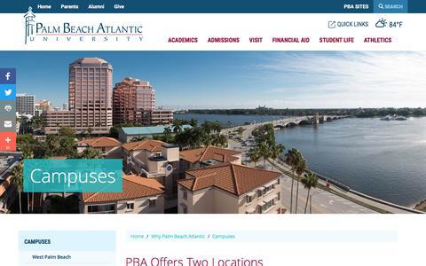 Screenshot of Locations Page pba.edu - Campuses | Palm Beach Atlantic University - captured Sept. 23, 2018