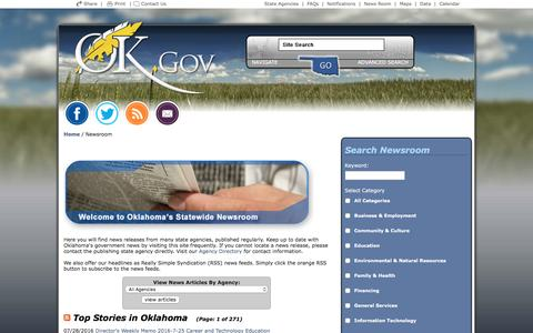 Screenshot of Press Page ok.gov - Welcome to Oklahoma's Official Web Site - captured Aug. 22, 2016