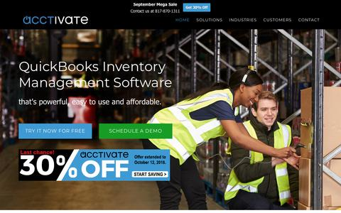 Screenshot of Home Page acctivate.com - QuickBooks Inventory Management Software | Acctivate - captured Oct. 3, 2018