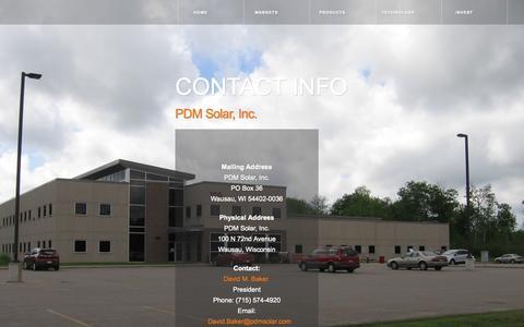 Screenshot of Contact Page pdmsolar.com - Contact PDM Solar - captured Sept. 26, 2014