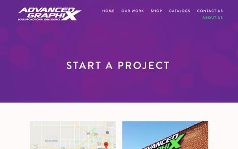 Screenshot of Contact Page advancedgraphix.net - Start A Project — Advanced Graphix - captured July 29, 2018