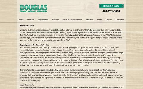 Screenshot of Terms Page douglaslumber.com - Terms of Use | Douglas Lumber, Kitchens & Home Center | Smithfield RI - captured May 11, 2019