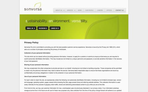 Screenshot of Privacy Page senversa.com.au - Privacy Policy | Senversa - captured Oct. 7, 2014