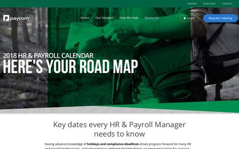 2018 HR & Payroll Calendar | Paycom