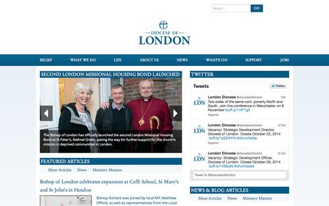 Screenshot of anglican.org - Diocese of London | Home - captured Oct. 11, 2014