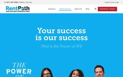 Screenshot of Case Studies Page Testimonials Page rentpath.com - Client Success - RentPath, LLC.RentPath, LLC. - captured March 10, 2016