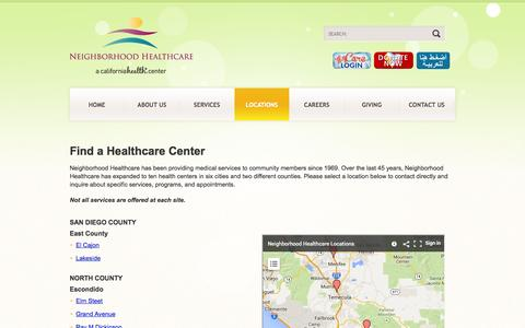 Screenshot of Locations Page nhcare.org - Locations - Neighborhood Healthcare - captured Oct. 26, 2014