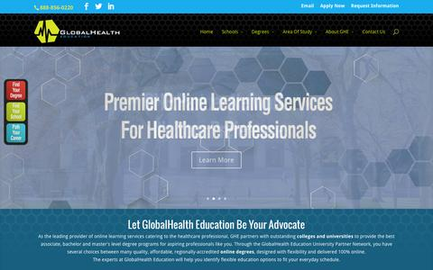 Screenshot of Home Page Terms Page gheprograms.com - GlobalHealth Education – Smart Degrees. Better Care. - captured Oct. 8, 2014