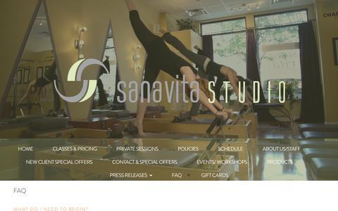 Screenshot of FAQ Page sanavitastudio.com - FAQ - Sana Vita Studio - Chicago, Illinois - captured July 27, 2018
