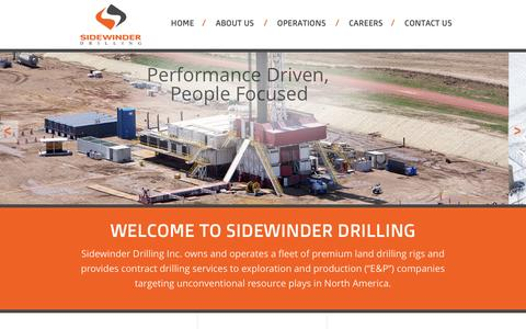 Screenshot of Home Page sidewinderdrilling.com - Sidewinder Drilling : Contract Drilling Services - captured Oct. 7, 2014