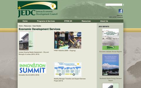 Screenshot of Case Studies Page jedc.org - Economic Development Services | Juneau Economic Development Council - captured Nov. 3, 2014