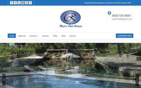 Screenshot of Home Page reedspoolservice.com - Reeds Pool Service - Pool Cleaning & Maintenance Service Houston - captured Oct. 18, 2018