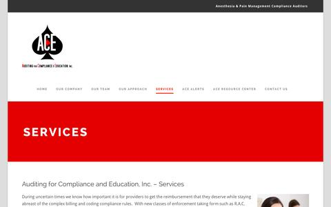 Screenshot of Services Page aceanesthesiapain.com - Services – Auditing for Compliance & Education, Inc. - captured Feb. 6, 2016