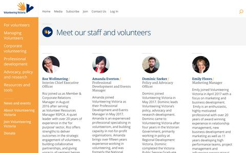 Screenshot of Team Page volunteeringvictoria.org.au - Meet our staff and volunteers - Volunteering Victoria - captured Nov. 5, 2017