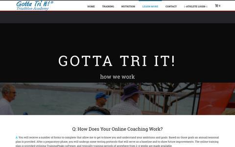 Screenshot of FAQ Page gottatriit.com - FAQ's - Gotta Tri It - captured July 22, 2018