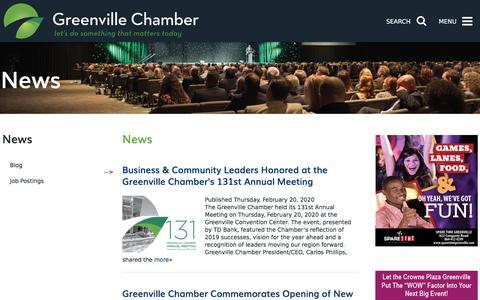 Screenshot of Press Page greenvillechamber.org - Greenville Chamber of Commerce - News - captured Feb. 21, 2020