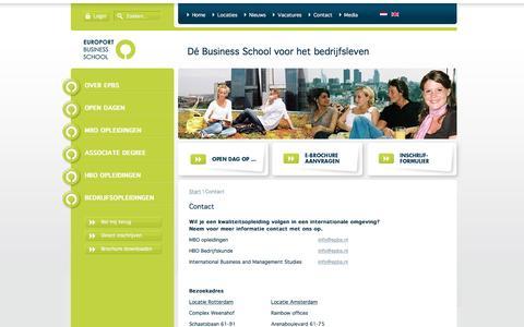 Screenshot of Contact Page epbs.nl - EPBS - Contact - captured Nov. 10, 2016