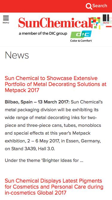 Screenshot of Press Page  sunchemical.com - News Archives - Page 2 of 4 - Sun Chemical