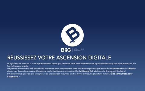 Screenshot of Home Page biig.fr - BiiG - Stratégie digitale | Agence Web, Mobile, e-Commerce, CRM - captured Feb. 7, 2016