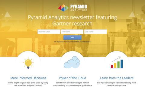 Screenshot of Landing Page pyramidanalytics.com - Pyramid Analytics - captured Oct. 15, 2016