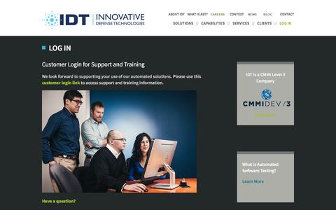 Screenshot of Login Page idtus.com - Support and Training for Automated Solutions| IDT - captured Nov. 26, 2016