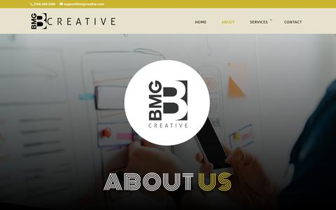 Screenshot of About Page bmgcreative.com - About Us - BMG Creative - Branding and Advertising Agency - captured Aug. 17, 2019