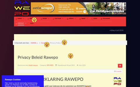Screenshot of Privacy Page rawepo.be - Privacy Policy - captured July 6, 2018