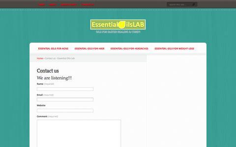 Screenshot of Contact Page essentialoilslab.com - Contact us - Essential Oils Lab - captured Oct. 30, 2014