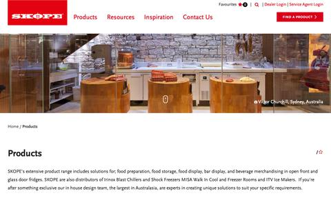 Screenshot of Products Page skope.com - Commercial Refrigeration Product Range - SKOPE - captured Oct. 1, 2018