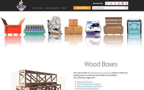 Screenshot of Products Page valleybox.com - Custom Boxes | California - captured Dec. 2, 2016