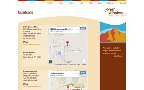 Screenshot of Locations Page jonerlaw.com - Joner Baker PLLC, Attorneys at Law, Battle Ground and Snoqualmie, Washington  – locations - captured Nov. 3, 2014