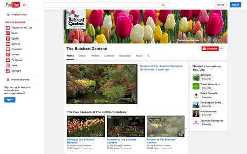 Screenshot of YouTube Page youtube.com - The Butchart Gardens  - YouTube - captured Oct. 26, 2014