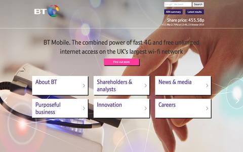 Screenshot of Home Page btplc.com - BT Plc - captured Oct. 23, 2015