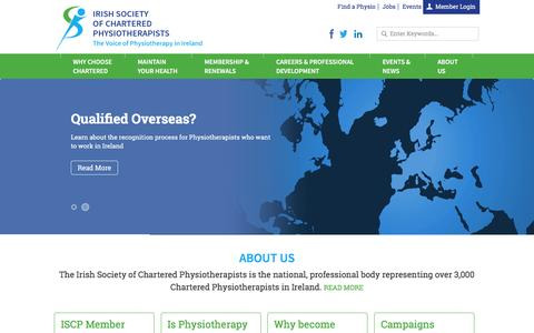 Screenshot of Home Page iscp.ie - Irish Society of Chartered Physiotherapists - captured Jan. 20, 2016