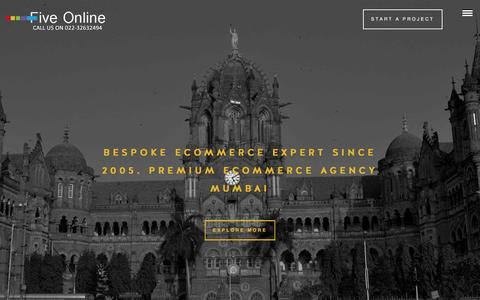 Screenshot of Home Page fiveonline.in - Premium E-Commerce Web Designing Company | Five Online Mumbai, India - captured Feb. 10, 2016