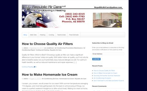 Screenshot of Blog republicaircarellc.com - Republic Air Care Blog   Air Conditioner Repair   Heater Repair   Phoenix AZ - captured Oct. 26, 2014