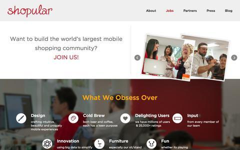 Screenshot of Jobs Page shopular.com - Jobs    Shopular - captured Sept. 17, 2014