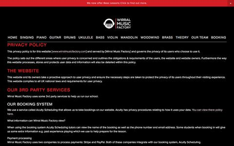 Screenshot of Privacy Page wirralmusicfactory.com - Privacy Policy — Wirral Music Factory - captured Sept. 20, 2018