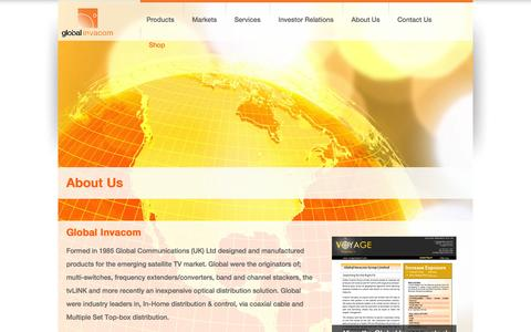 Screenshot of About Page globalinvacom.com - About Global Invacom - captured Oct. 1, 2014