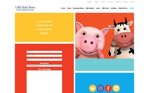 Screenshot of Contact Page littlebabybum.com - Contact - Little Baby Bum Contact Information and Connect Online - captured July 22, 2017