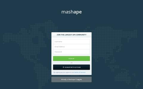 Screenshot of Signup Page mashape.com - Mashape - Cloud API Marketplace & Free API Management Platform - captured July 20, 2014