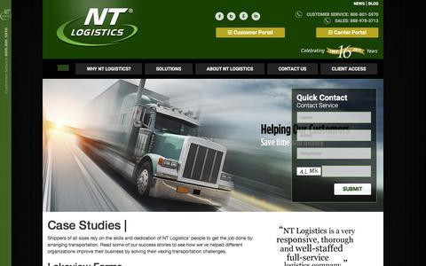 Screenshot of Case Studies Page ntlogistics.com - Case StudiesNT logistics - captured Feb. 21, 2016