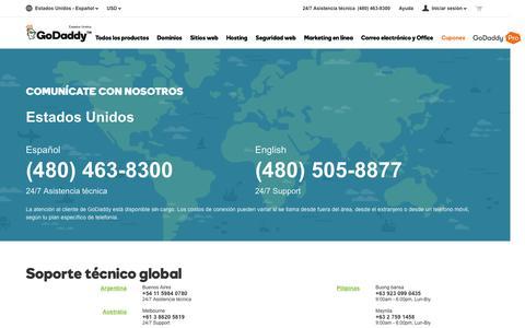 Screenshot of Contact Page godaddy.com - Asistencia técnica global de GoDaddy | Contáctenos – GoDaddy - captured June 4, 2016