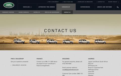 Screenshot of Contact Page landrover.co.za - Land Rover - Contact Us - captured Nov. 1, 2014