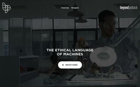 Screenshot of Home Page beyond.link - Beyond Protocol - the ethical language of machines - captured Oct. 26, 2018
